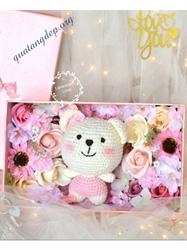 Hộp hoa hồng sáp và gấu, hộp quà tặng Valentine - H1