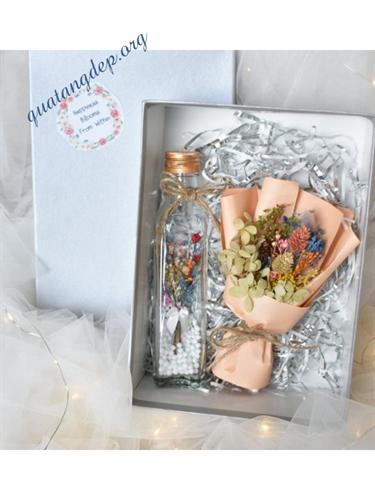 Hộp quà tặng valentine hoa khô handmade - h3